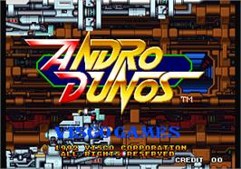 Title screen of Andro Dunos on the Arcade.