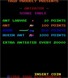 Title screen of Anteater on the Arcade.