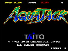 Title screen of Aqua Jack on the Arcade.