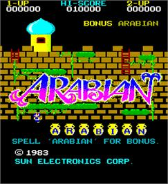 Title screen of Arabian on the Arcade.