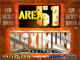 Title screen of Area 51 / Maximum Force Duo on the Arcade.