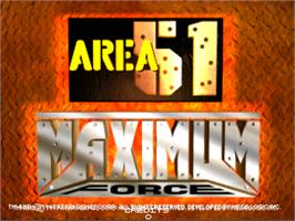 Title screen of Area 51 / Maximum Force Duo v2.0 on the Arcade.