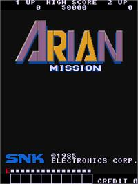 Title screen of Arian Mission on the Arcade.