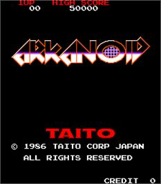 Title screen of Arkanoid on the Arcade.