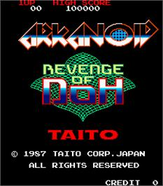 Title screen of Arkanoid - Revenge of DOH on the Arcade.