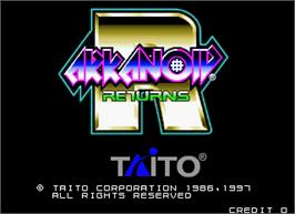 Title screen of Arkanoid Returns on the Arcade.