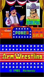 Title screen of Arm Wrestling on the Arcade.