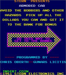 Title screen of Armored Car on the Arcade.