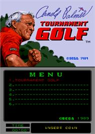 Title screen of Arnold Palmer Tournament Golf on the Arcade.