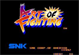 Title screen of Art of Fighting / Ryuuko no Ken on the Arcade.