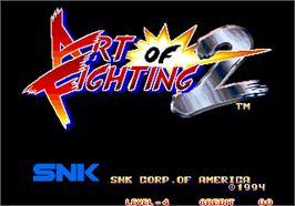 Title screen of Art of Fighting 2 / Ryuuko no Ken 2 on the Arcade.