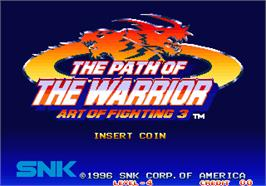 Title screen of Art of Fighting 3 - The Path of the Warrior on the Arcade.
