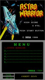 Title screen of Astro Warrior on the Arcade.