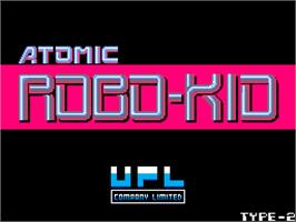 Title screen of Atomic Robo-kid on the Arcade.