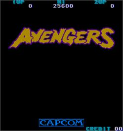 Title screen of Avengers on the Arcade.