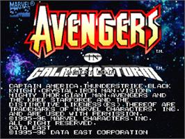Title screen of Avengers In Galactic Storm on the Arcade.