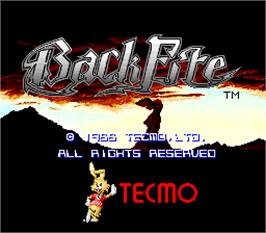 Title screen of Back Fire on the Arcade.