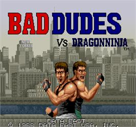 Title screen of Bad Dudes vs. Dragonninja on the Arcade.