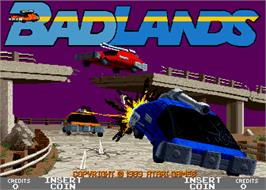 Title screen of Bad Lands on the Arcade.