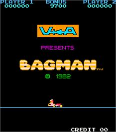 Title screen of Bagman on the Arcade.