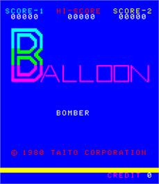 Title screen of Balloon Bomber on the Arcade.