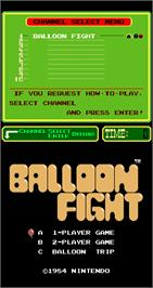 Title screen of Balloon Fight on the Arcade.