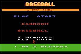 Title screen of Barroom Baseball on the Arcade.