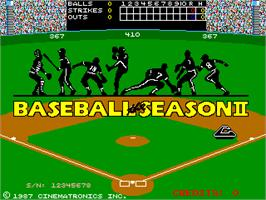 Title screen of Baseball: The Season II on the Arcade.