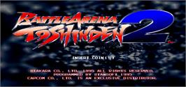 Title screen of Battle Arena Toshinden 2 on the Arcade.