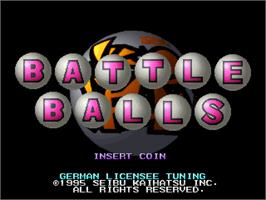 Title screen of Battle Balls on the Arcade.