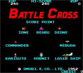 Title screen of Battle Cross on the Arcade.