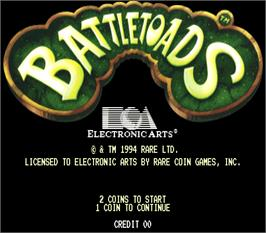 Title screen of Battle Toads on the Arcade.