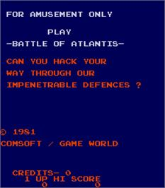 Title screen of Battle of Atlantis on the Arcade.