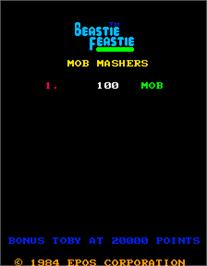 Title screen of Beastie Feastie on the Arcade.