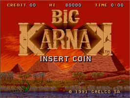 Title screen of Big Karnak on the Arcade.