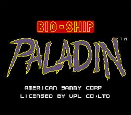 Title screen of Bio-ship Paladin on the Arcade.