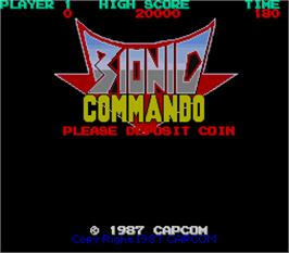 Title screen of Bionic Commando on the Arcade.