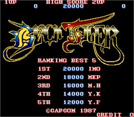 Title screen of Black Tiger on the Arcade.