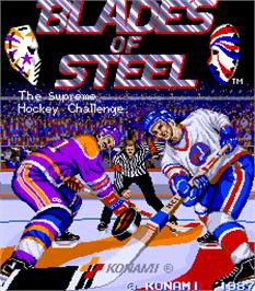 Title screen of Blades of Steel on the Arcade.