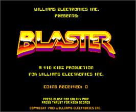 Title screen of Blaster on the Arcade.