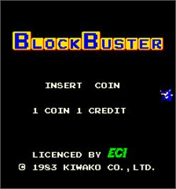 Title screen of BlockBuster on the Arcade.