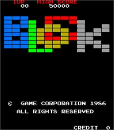 Title screen of Block on the Arcade.