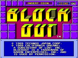 Title screen of Block Out on the Arcade.