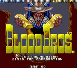 Title screen of Blood Bros. on the Arcade.
