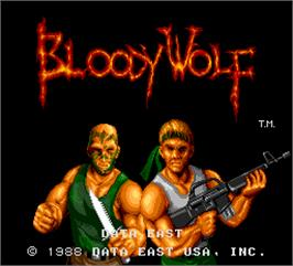 Title screen of Bloody Wolf on the Arcade.