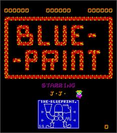 Title screen of Blue Print on the Arcade.