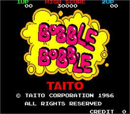 Title screen of Bobble Bobble on the Arcade.