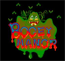 Title screen of Bogey Manor on the Arcade.