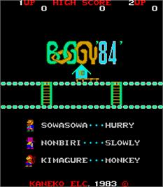 Title screen of Boggy '84 on the Arcade.