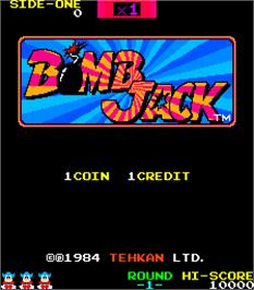 Title screen of Bomb Jack on the Arcade.